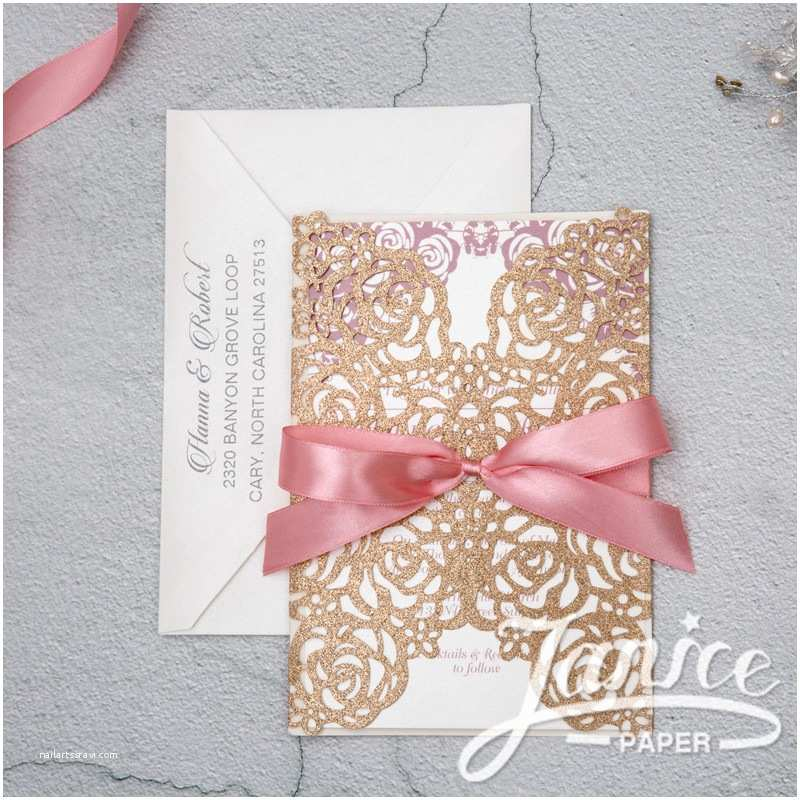 Bulk Wedding Invitations Rose Design Glitter Paper Laser Cut wholesale Wedding