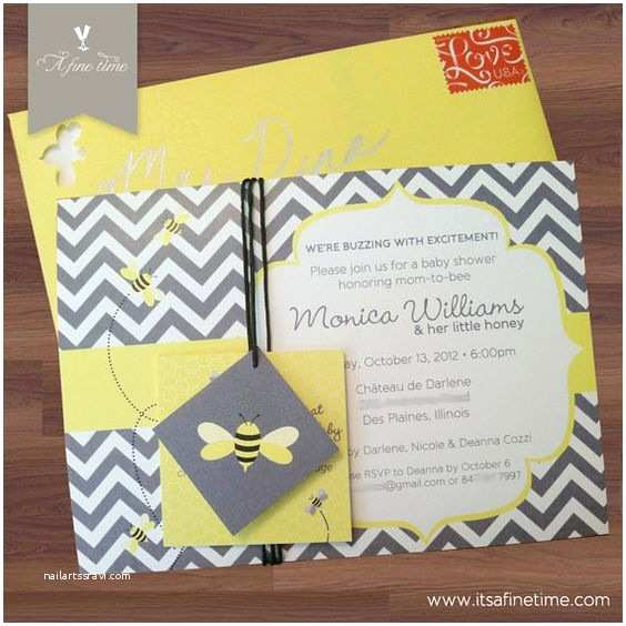 Bumble Bee Baby Shower Invitations Baby Shower Invitation Suite with Tags Honey Bee Bumble