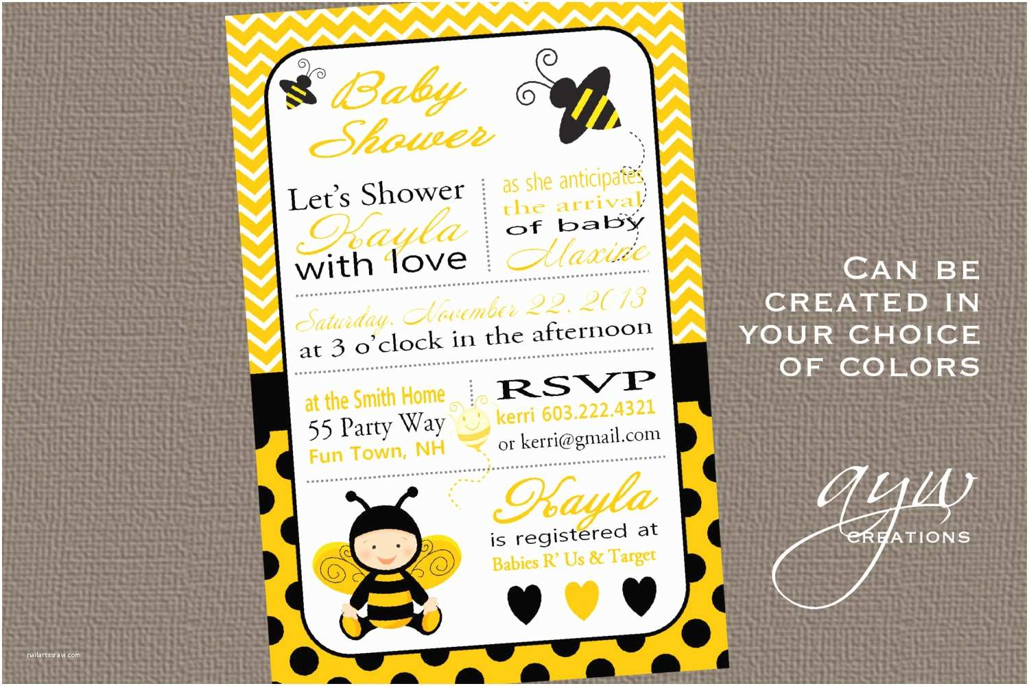 Bumble Bee Baby Shower Invitations Bee Baby Shower Invitation Bee Bumble Bee by