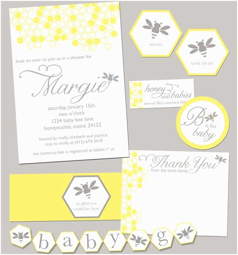 Bumble Bee Baby Shower Invitations Bumble Bee Baby Shower Party Pack Jpeg Bumblebee by Rvparties