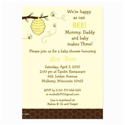 Bumble Bee Baby Shower Invitations Bumble Bee Honey B Baby Shower Invitations