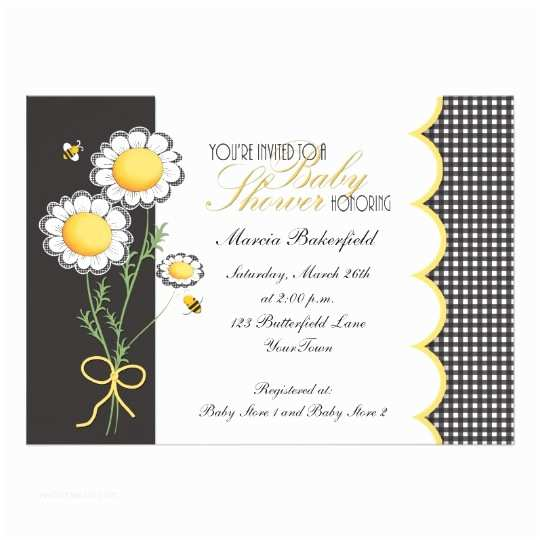 Bumble Bee Baby Shower Invitations Daisies & Bumble Bee Baby Shower Invitation
