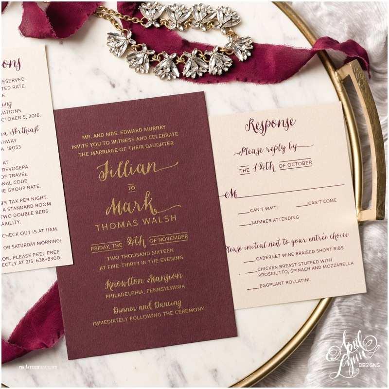 Burgundy and Gold Wedding Invitations April Lynn Designs Custom Stationery Design Studio