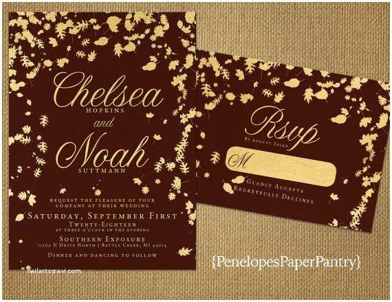 Burgundy and Gold Wedding Invitations Burgundy and Gold Fall Wedding Invitationselegantfalling