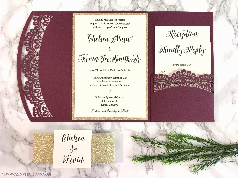 Burgundy and Gold Wedding Invitations Burgundy and Gold Glitter Laser Cut Pocket Wedding Invitation