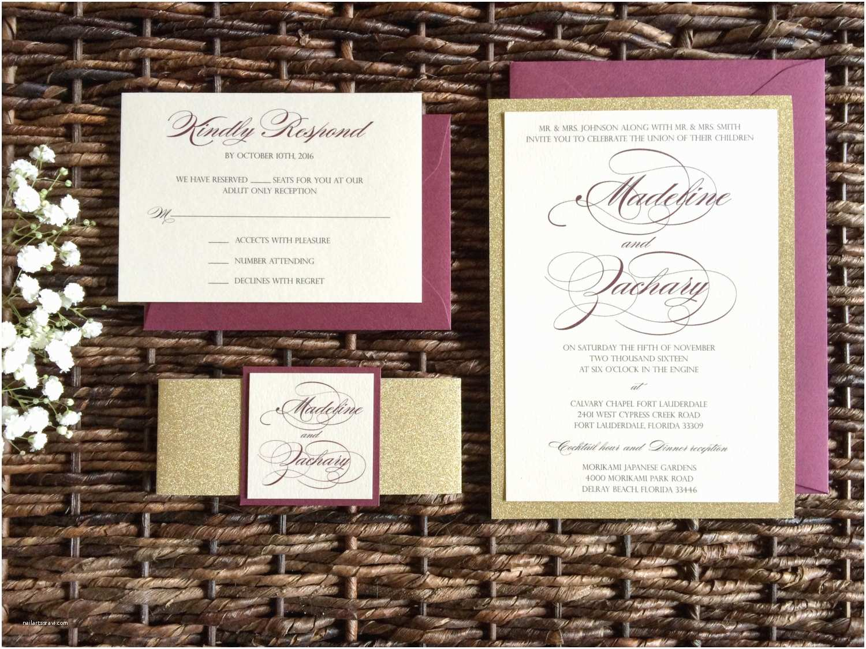 Burgundy and Gold Wedding Invitations Burgundy and Gold Glitter Wedding Invitation with Glitter