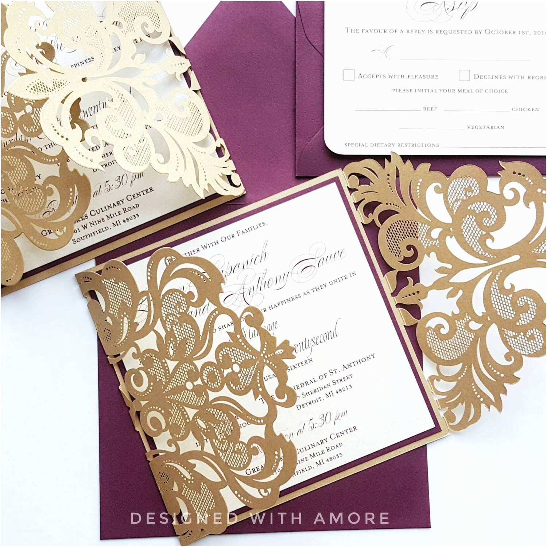 Burgundy and Gold Wedding Invitations Custom Burgundy Gold Lasercut Wedding Invitation Card