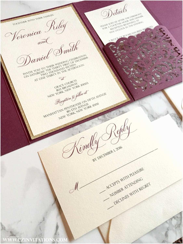 Burgundy and Gold Wedding Invitations Laser Cut Pocket Wedding Invitation Burgundy and Gold Glitter