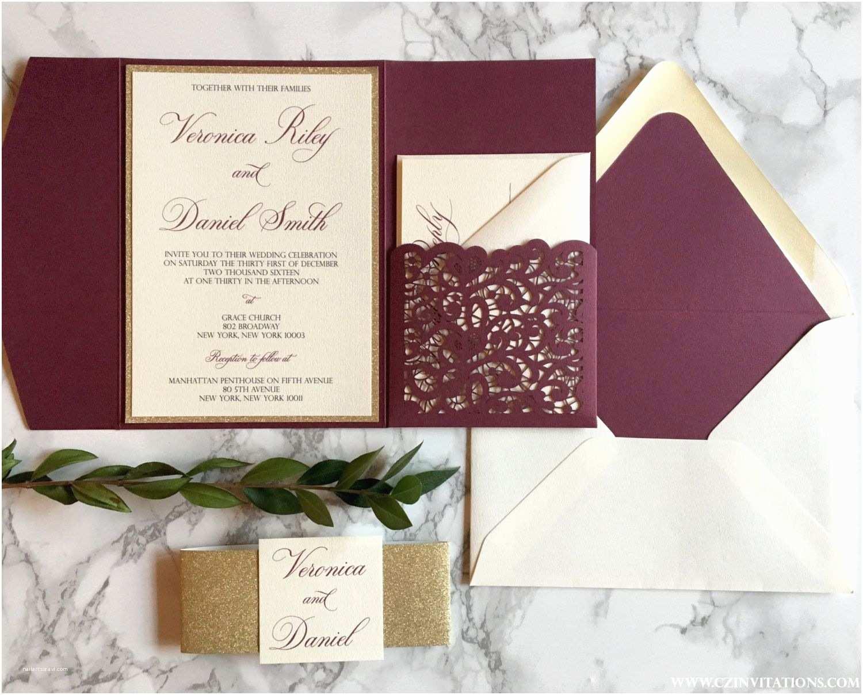 Burgundy and Gold Wedding Invitations Laser Cut Pocket Wedding Invitation Burgundy and Gold