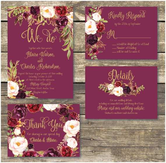 Burgundy and Gold Wedding Invitations Printed Wedding Invitation Fall Floral Watercolor