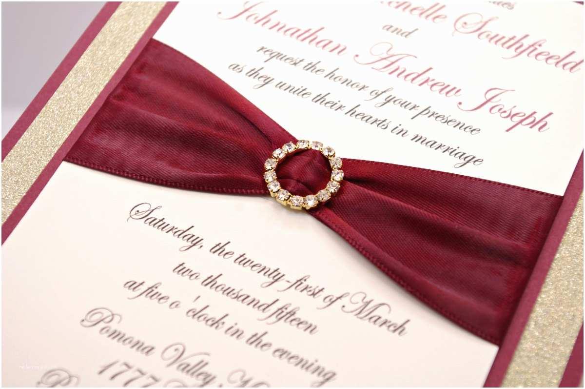 Burgundy and Gold Wedding Invitations Stunning Cranberry Burgundy & Gold Glitter Wedding by