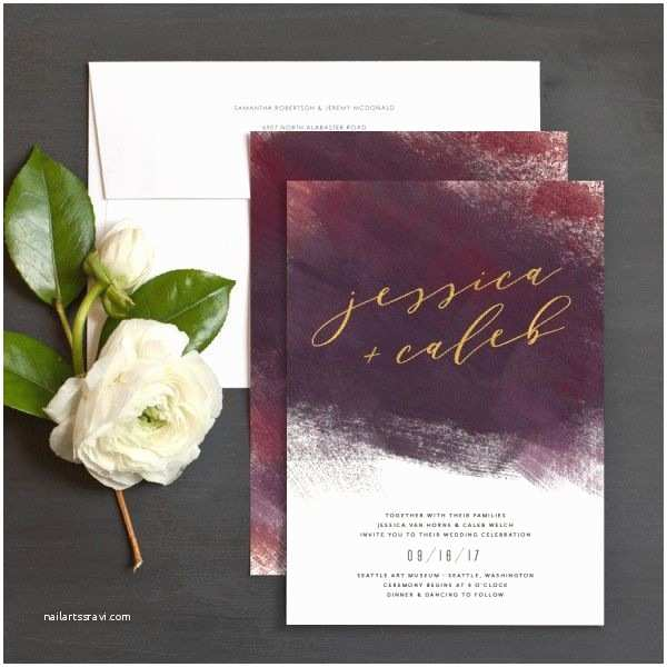 Burgundy and Gray Wedding Invitations Burgundy and Gold Wedding Invitation