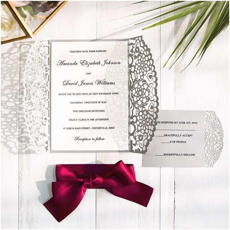 Burgundy and Gray Wedding Invitations Burgundy and Gray Laser Cut Wedding Invitations Swws043