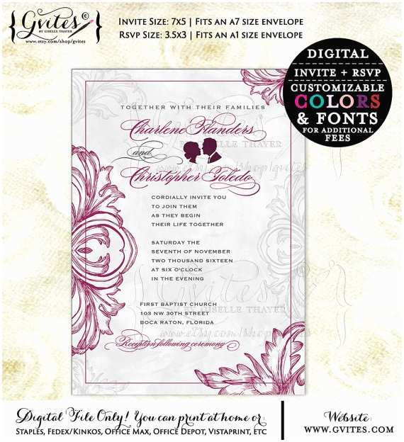Burgundy and Gray Wedding Invitations Burgundy and Silver Wedding Invitation Cranberry Wedding