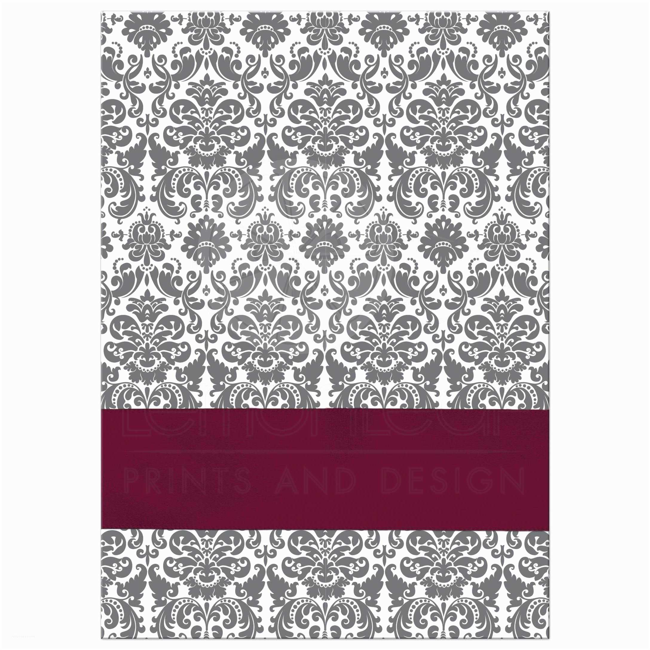 Burgundy and Gray Wedding Invitations Gray White Damask Wedding Invitation Printed On Burgundy