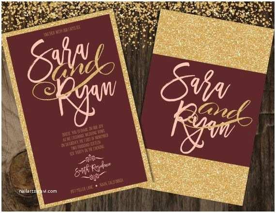 Burgundy and Grey Wedding Invitations Blush and Burgundy Wedding Invitation Blush and Gold