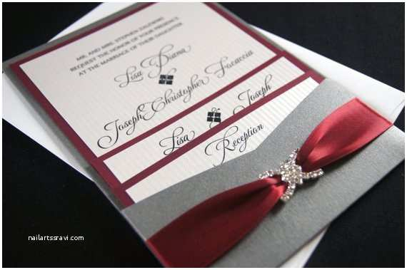 Burgundy and Grey Wedding Invitations Lisa Z S Burgundy and Gray Custom Pocket Wedding