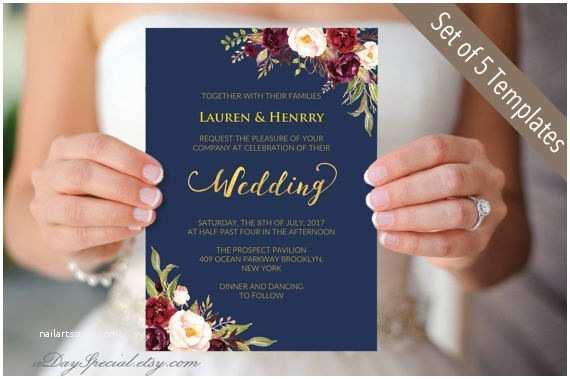 Burgundy And Navy Wedding Invitations 5 Navy Wedding Invitation Templates Printable Burgundy