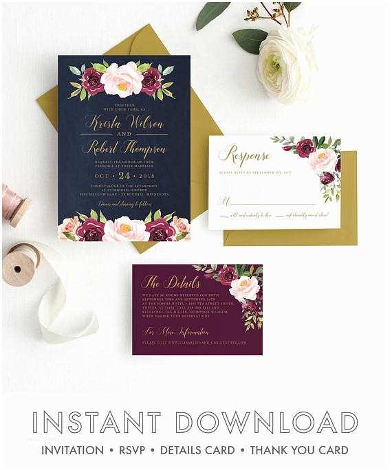Burgundy and Navy Wedding Invitations Burgundy and Navy Wedding Invitations Marsala Wedding