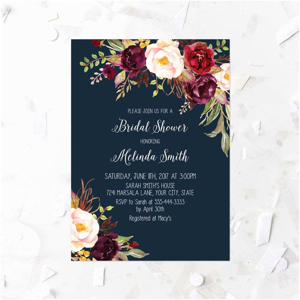 Burgundy and Navy Wedding Invitations Burgundy Floral Bridal Shower Invitation Printable Navy