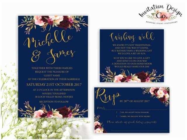 And Navy Wedding Invitations Digital Wedding Invitation Navy Gold And Boho