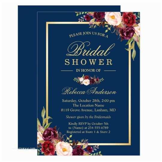 Burgundy And Navy Wedding Invitations Elegant Burgundy Floral Navy Blue Bridal Shower