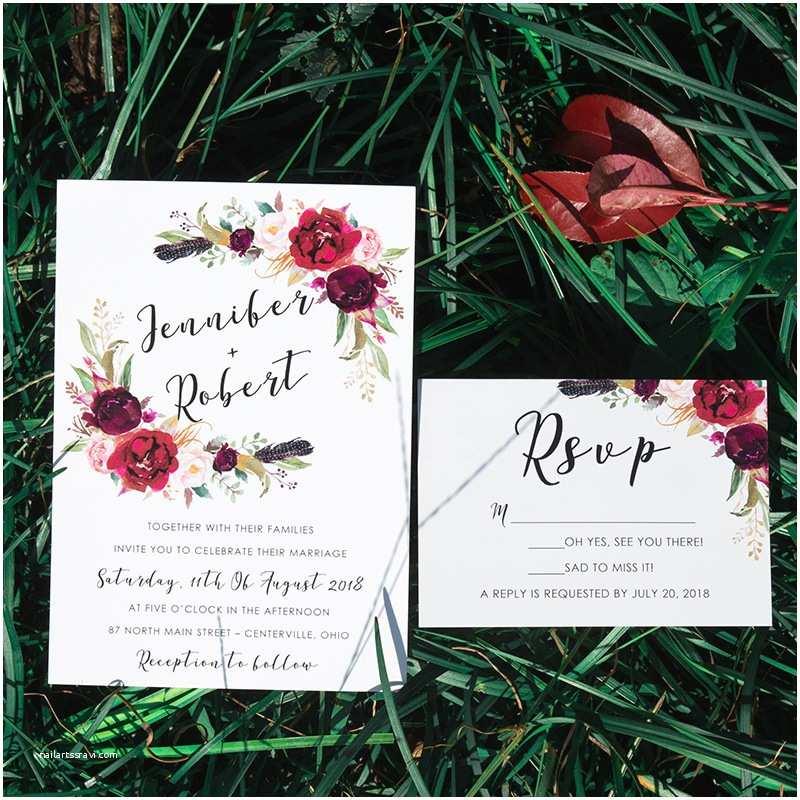 Burgundy And Navy Wedding Invitations Fall Wedding Invitations For Autumn Wedding