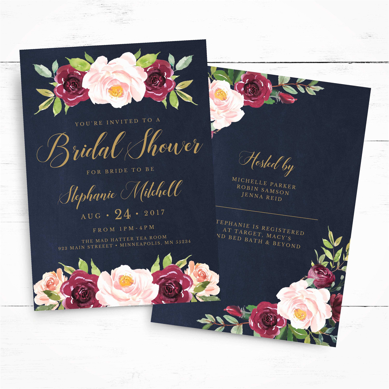 Burgundy and Navy Wedding Invitations Marsala Navy Bridal Shower Invitation Instant Download