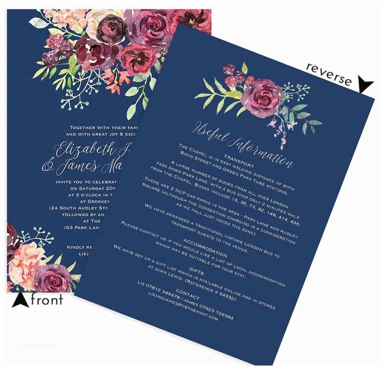 Burgundy And Navy Wedding Invitations Navy & Burgundy Floral Wedding Invitation From £1 00