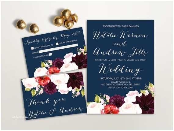 Burgundy and Navy Wedding Invitations Navy and Red Wedding Invitation