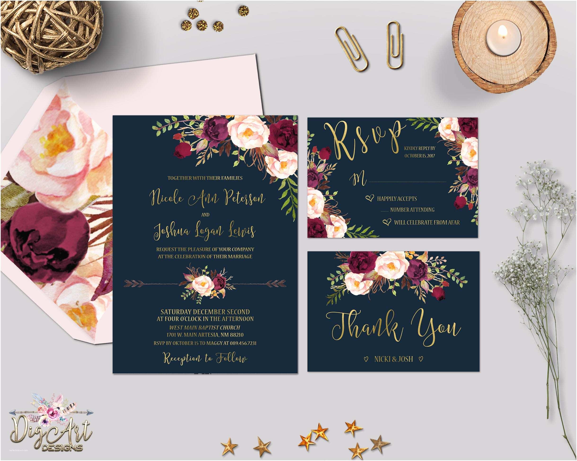 Burgundy And Navy Wedding Invitations Navy Burgundy Gold Wedding Invitation Printable Boho