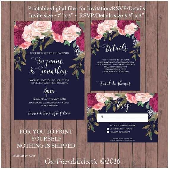 Burgundy and Navy Wedding Invitations Navy Burgundy Wedding Invitation Printable Wedding Invitation