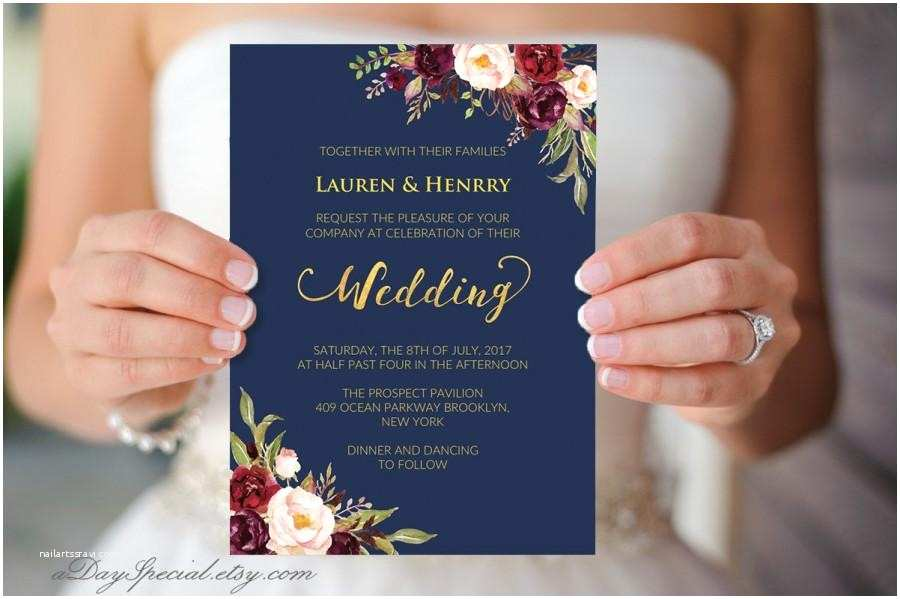 Burgundy and Navy Wedding Invitations Navy Wedding Template Burgundy Boho Chic Floral