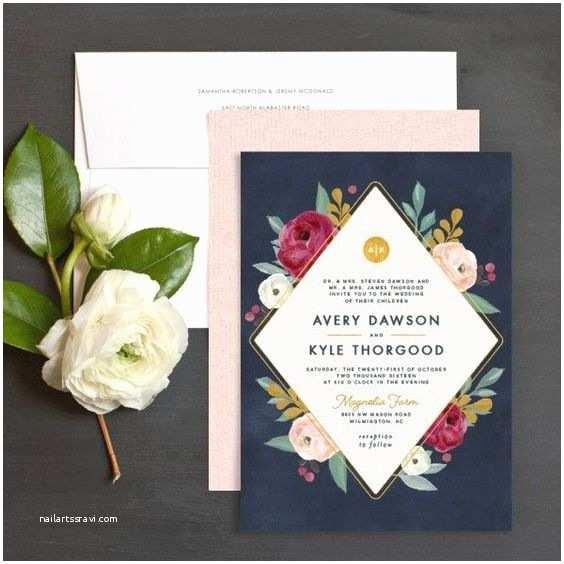 Burgundy and Navy Wedding Invitations Painterly Blooms Wedding Invitation In Navy Blue Burgundy