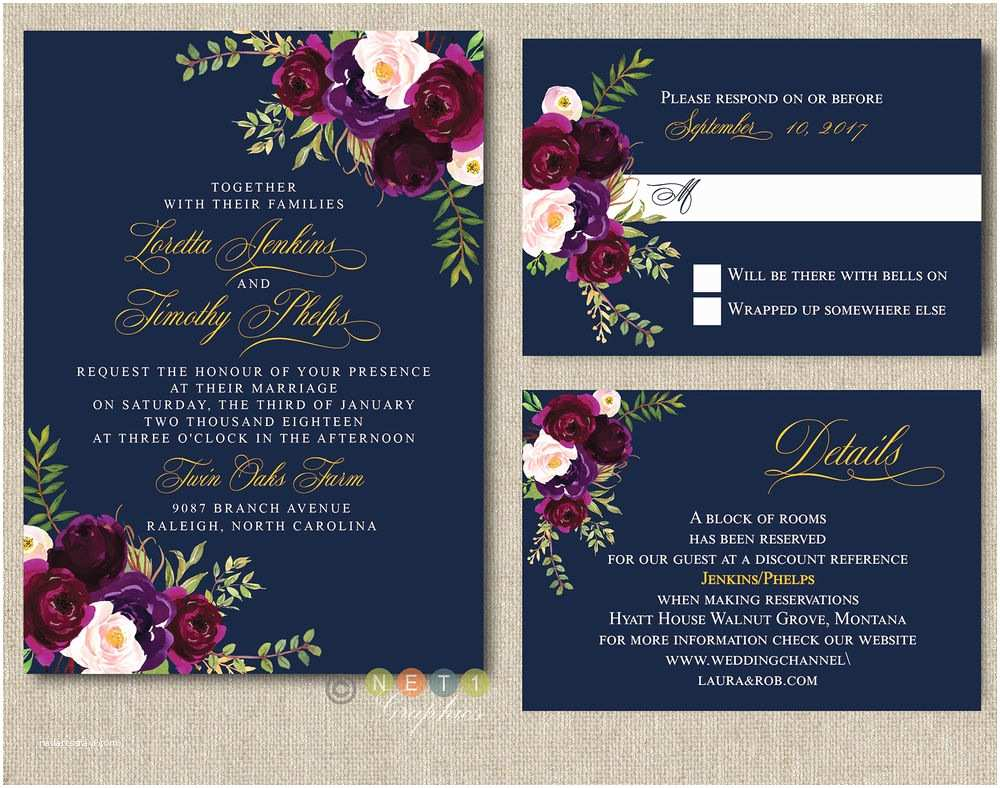 Burgundy And Navy  Invitations Personalized Navy Burgundy Blush Floral