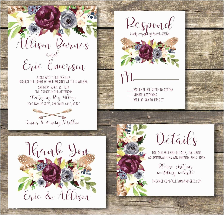 And Navy Wedding Invitations Printable Wedding Invitation Boho Navy And Marsala