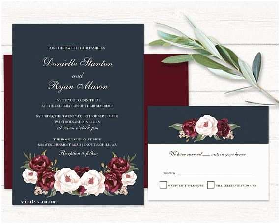 And Navy Wedding Invitations Romantic Floral Wedding Invitations Navy Blue