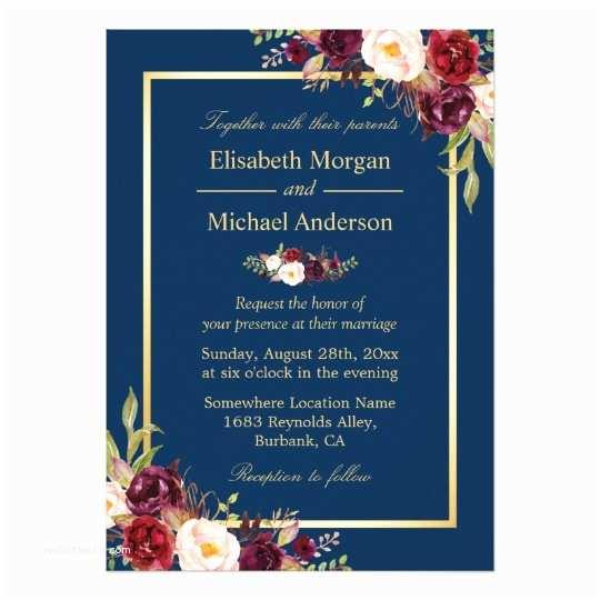 Burgundy and Navy Wedding Invitations Rustic Burgundy Floral Gold Navy Blue Wedding Card