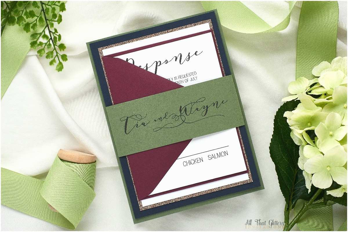 Burgundy And Navy Wedding Invitations Tia A Calligraphy Wedding Invitation By All That