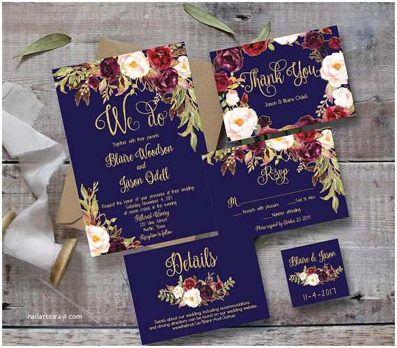 Burgundy And Navy Wedding Invitations Wedding Invitation Template Printable Editable Diy