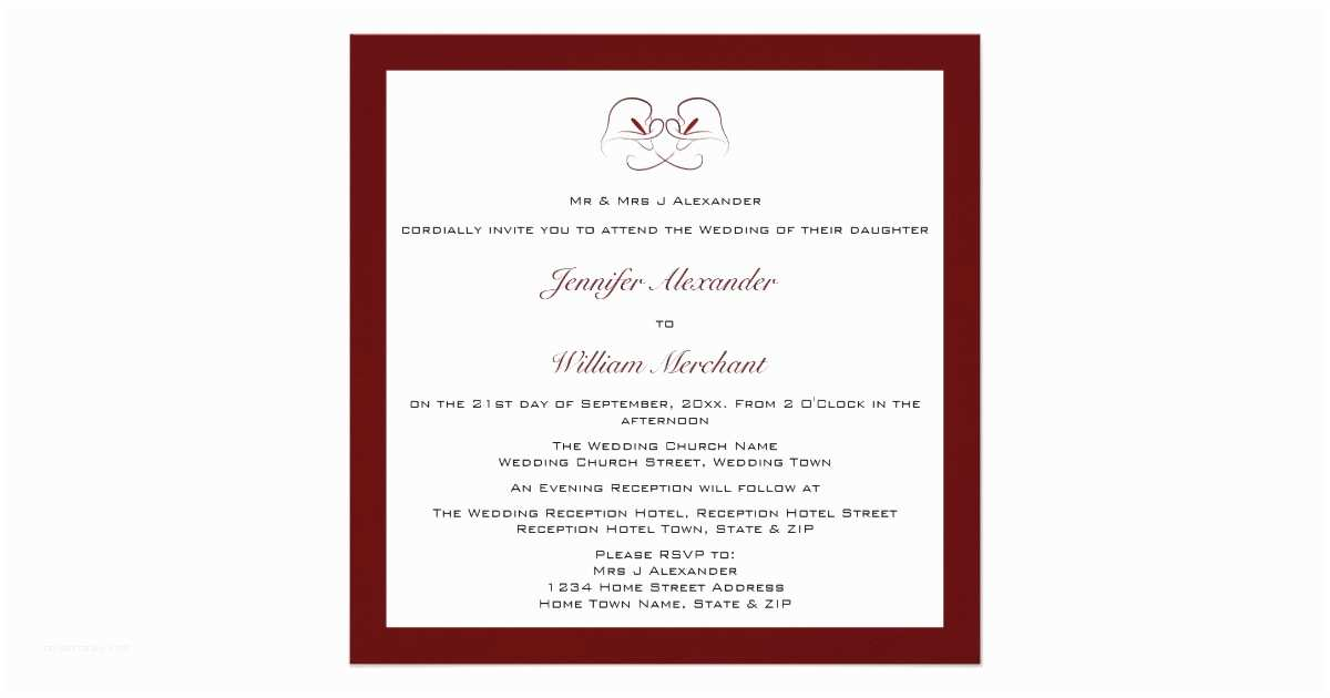 Burgundy and White Wedding Invitations Burgundy & White Calla Lilies Wedding Invitations