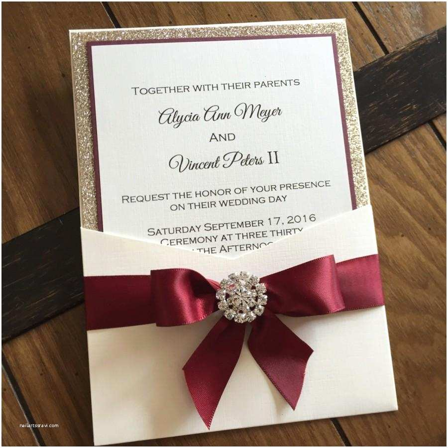 Burgundy and White Wedding Invitations Burgundy and Gold Leaf Glitter Pocket Wedding Invitation