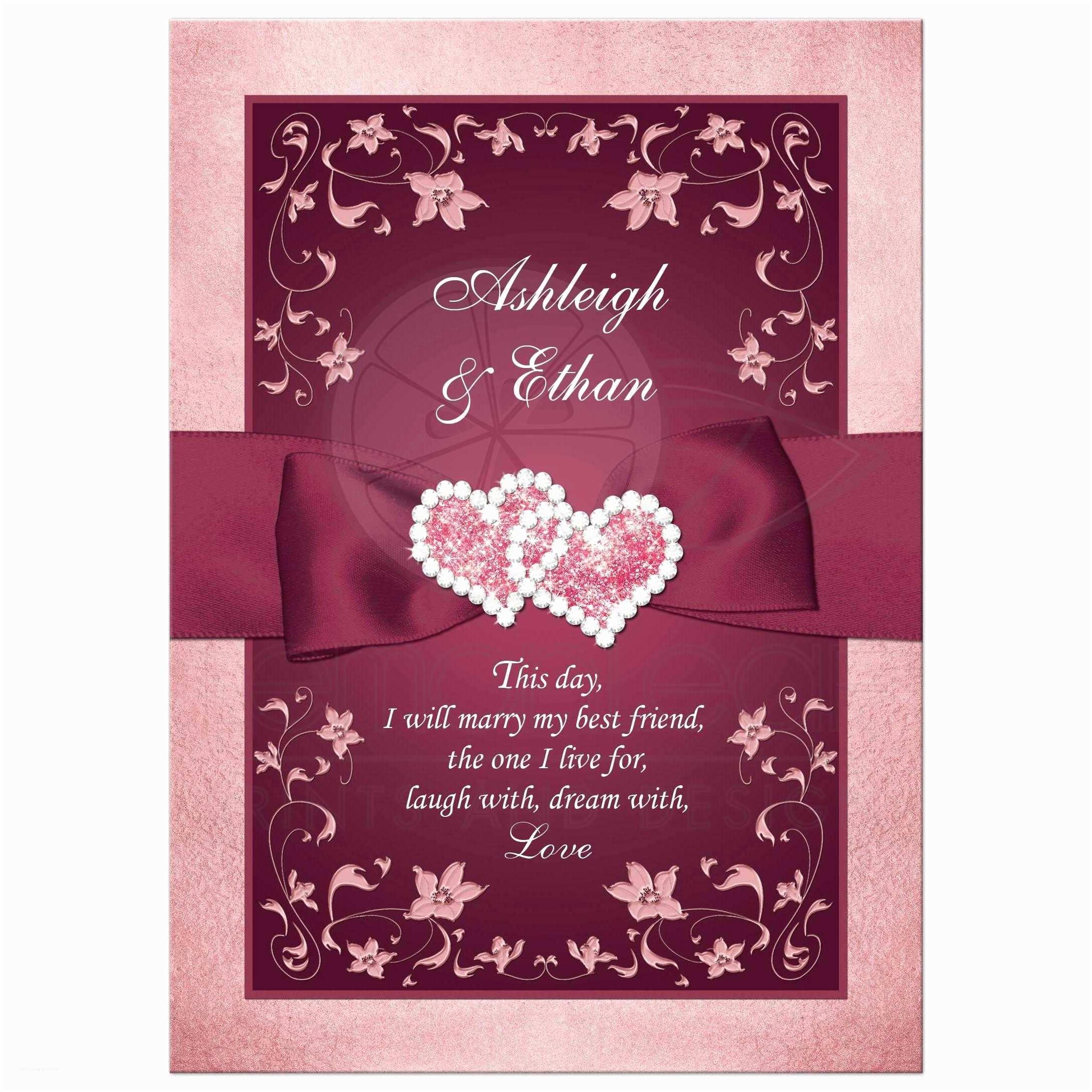 Burgundy and White Wedding Invitations Burgundy Blush Wedding Invitation