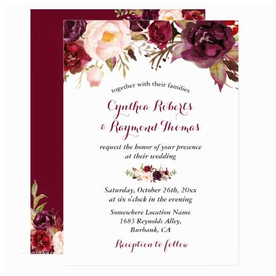 Burgundy and White Wedding Invitations Burgundy Red Marsala Floral Chic Fall Wedding Card