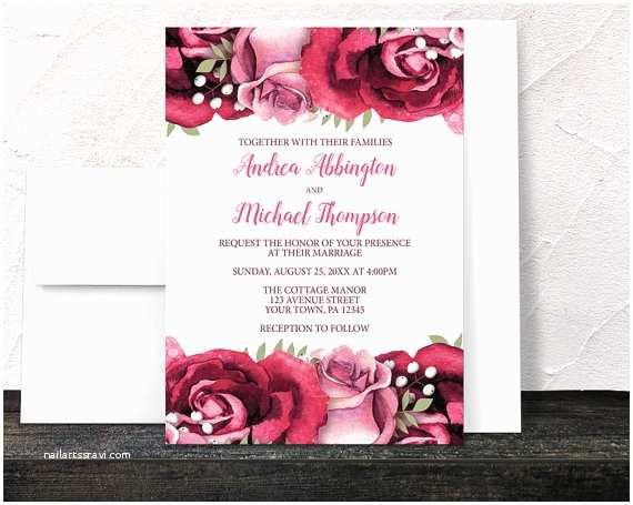 Burgundy and White Wedding Invitations Burgundy Rose Wedding Invitations Rustic Burgundy Pink