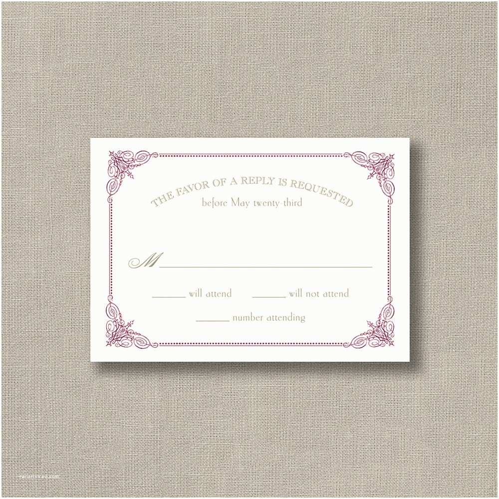 Burgundy and White Wedding Invitations Burgundy Vintage Frame Warm White – Wedding Invitations