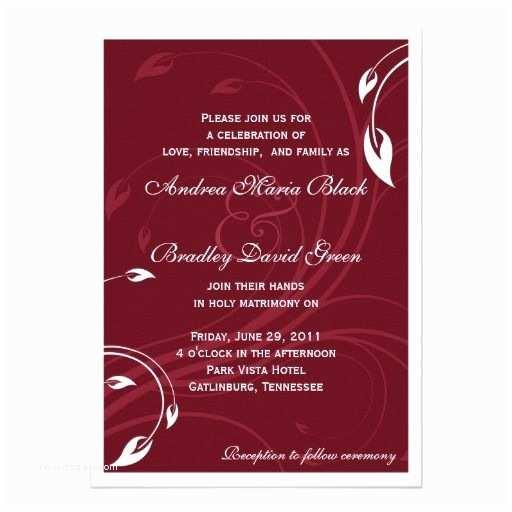 Burgundy and White Wedding Invitations Elegant Burgundy White Wedding Invitation