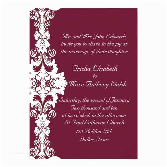 Burgundy and White Wedding Invitations Elegant Maroon and White Wedding Invitation