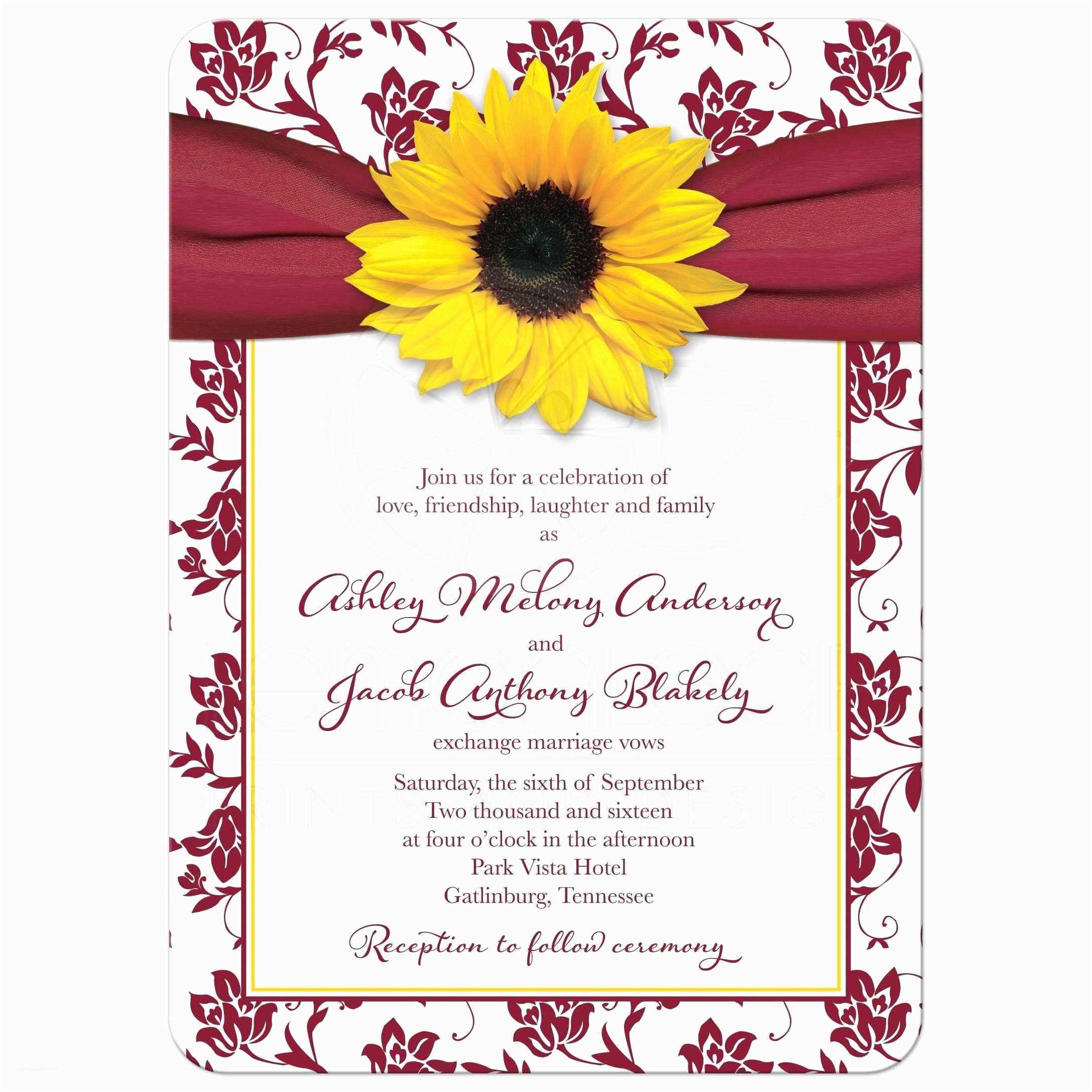Burgundy and White Wedding Invitations Fall Sunflower Wedding Invitation Burgundy Yellow