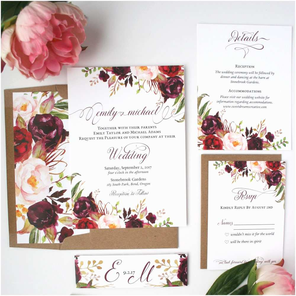 Burgundy and White Wedding Invitations Fall Wedding Invitations Burgundy & Blush Wedding